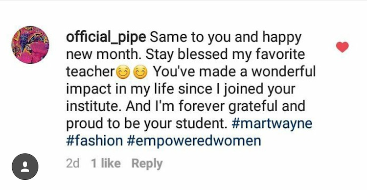 official pipe testimonial martwayne dressmaking course
