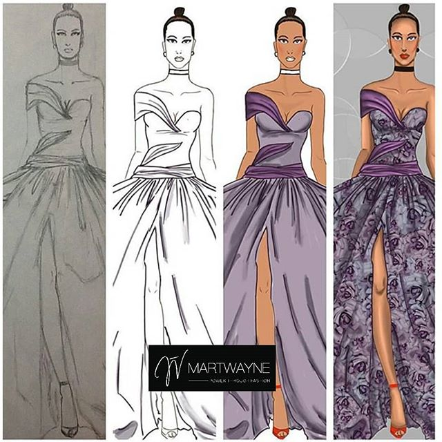 Picture of Fashion Sketch showing a transition from From hand sketch to digital fashion Illustration