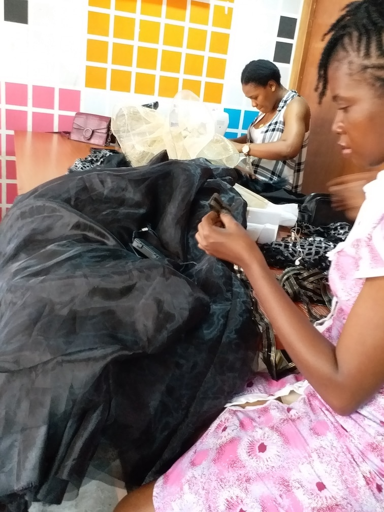 Advanced Student in Sewing class working on project
