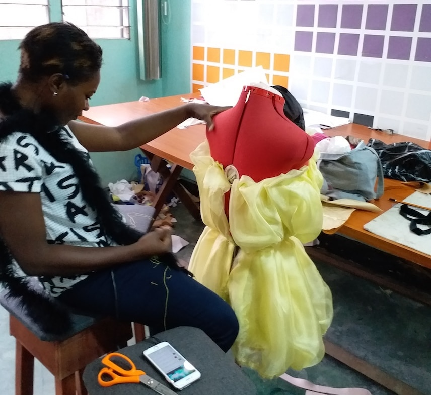 Martwayne Student working on project in the Advanced Course in Fashion Design