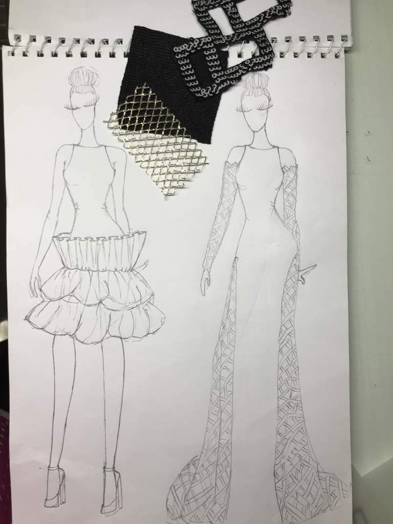 Pencil Sketch of a Student's work in Fashion Illustration Class