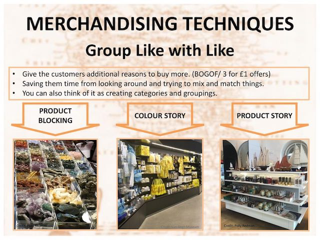 Group like with like visual merchandising